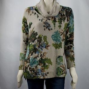 J. Jill Brown Floral Sweater w/Cowl Neck SZ XS